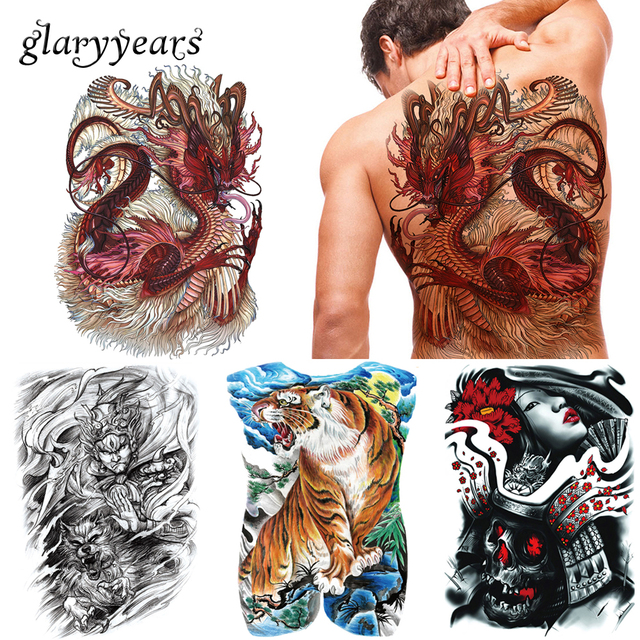 Glaryyears 20 Pieces Lot Grand Dos Complet Tatouage Temporaire