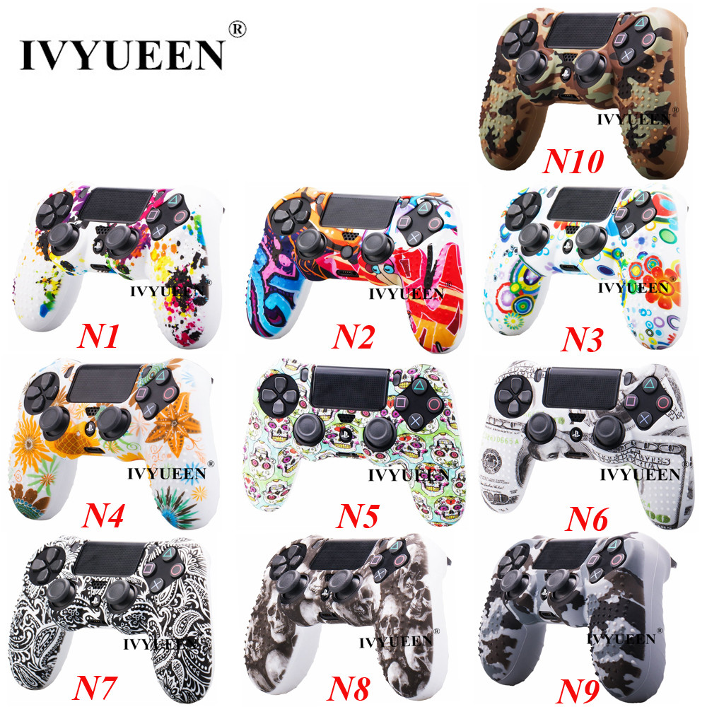 IVYUEEN 10 PCS Silicone Protective Skin For Sony Dualshock 4 PS4 Pro Slim Controller Case Cover Water Transfer Printing Shell
