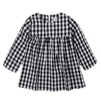 Baby Girls Dress Black White Plaid 2016 INS Hot Autumn Long Sleeve Dresses Classical Frocks Kids