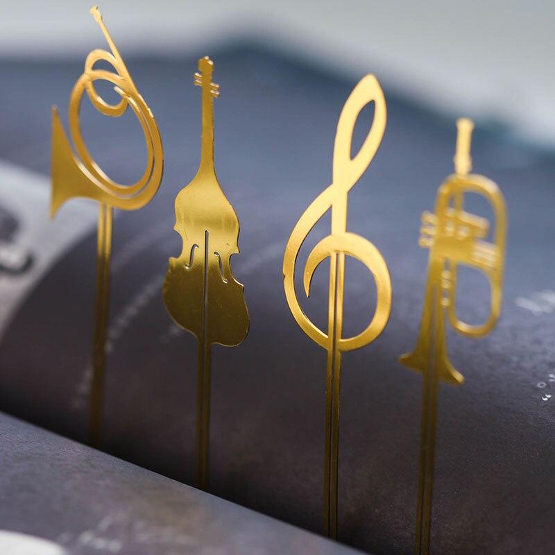 48 Pcs/Lot Novelty Instrument Book Mark Vintage Metal Music Bookmark Trumpet Violin Stationery School Marcapaginas A6145
