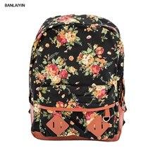Цветочный узор элегантный дизайн для девочек Женская парусиновая сумка рюкзак для путешествий школьный рюкзак