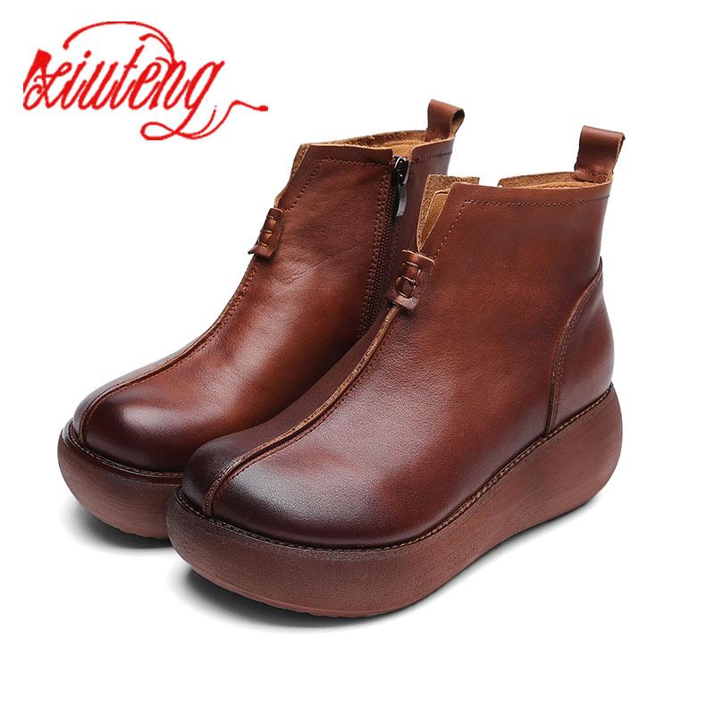 Xiuteng Neue Frauen Echtes Leder Stiefel High Heels Plattform Stiefeletten Damen Brogue Schuhe Frau Britischen Stil Runde Top Schuh-in Knöchel-Boots aus Schuhe bei  Gruppe 1