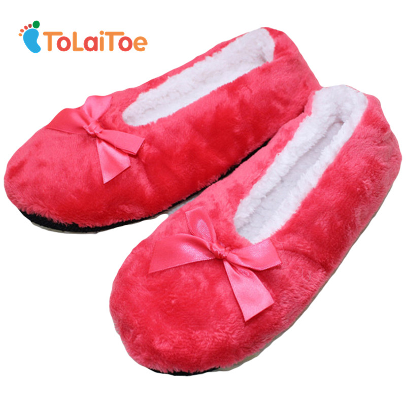 ToLaiToe Free Shipping Women's Super-soft Non-slip Home Indoor Plush Slippers Bow Decoration Floor Household Slippers 6 Colors tolaitoe autumn