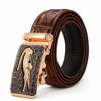 Homens de alta qualidade cintos de couro genuíno marca luxo prata ouro ceinture cintos de crocodilo dos homens designer cinturones para hombre