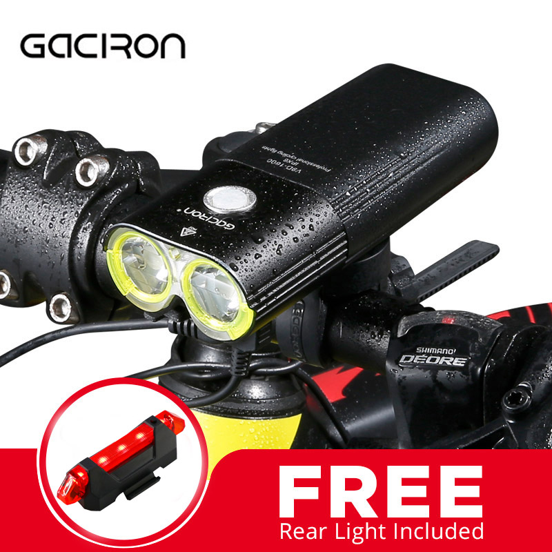 Gaciron 1600 LM Rechargeable Bike Light Bicycle Front Handlebar Led Light 5000mAh Power Bank Intelligent Wire