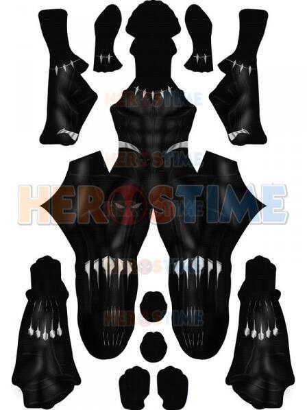 Black Panther 2018 Version Cosplay Costume Spandex Printing Black Panther Superhero Zentai Suit No Mask