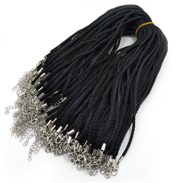 80a4f0e8b YIQIFLY 100pcs 3mm Black Silk Cord Necklace Beading Cord String Rope Wire  about 45cm+5cm