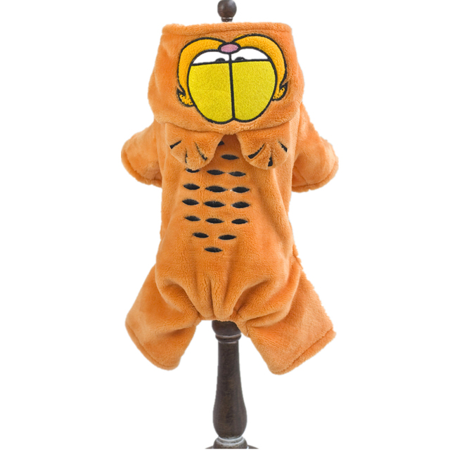 HELLOMOON Dog Pet Cosplay Costume Jumpsuit Cute Clothes for animals Cartoon Fleece Garfield Winter Warm Hoodie Clothes