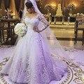 Отличный Дизайн Линия С Длинным Рукавом Свадебные Платья Sheer Вернуться Аппликация Тюль Невесты Свадебные Платья bruidsjurken