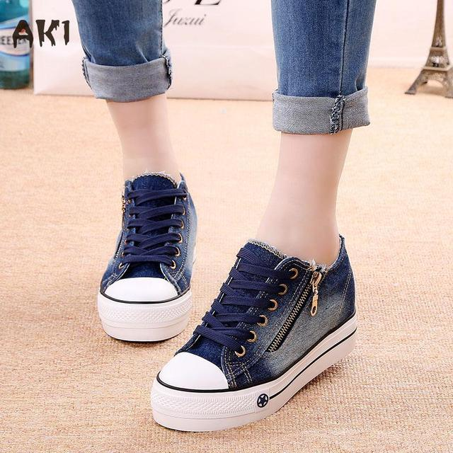 2016 Summer Autumn Women Boots Hidden Wedge Heels Fashion Casual Women's Elevator Shoes Denim For Women Heighten Shoes Mujer