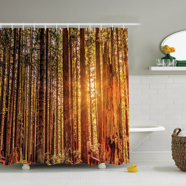 Home Textiles Waterproof Digital Personality Shower Curtain Scenery Autumn Leaves Series Household Goods Customization
