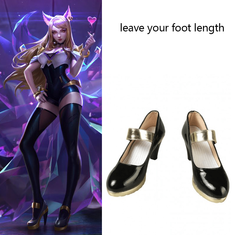 Game LOL Costume KDA Ahri Cosplay Boots The Nine-Tailed Fox Leather Shoes Props Halloween Carnival Accessories Custom Made