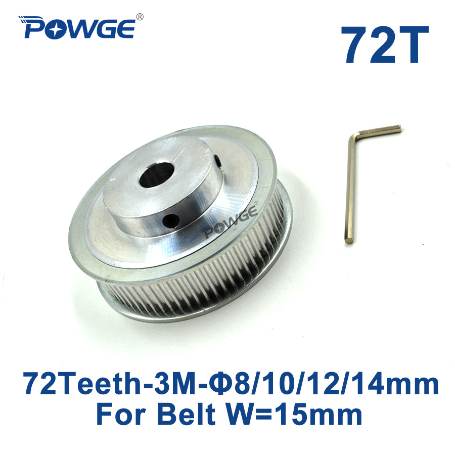 POWGE 1pcs 72 Teeth HTD 3M Timing Pulley Bore 8mm 10mm 12mm 14mm for Width 15mm 3M Synchronous belt HTD3M pulley 72Teeth 72T CNC