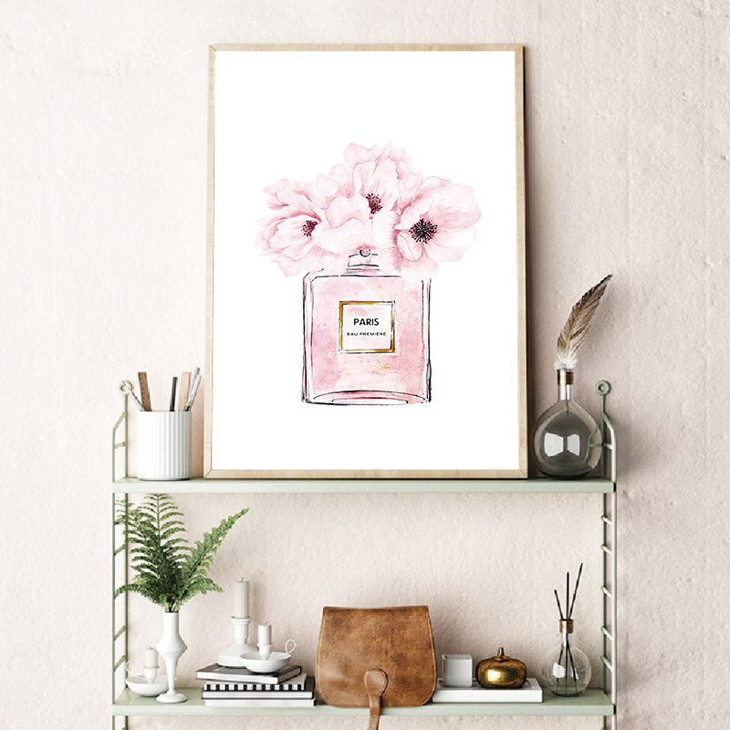 Fashion Book Perfume Bottle Posters Wall Art Canvas Painting Watercolor Flowers Vogue Pictures Prints for Living Room Home Decor