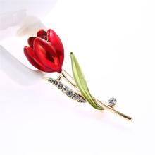 Elegant Red Tulip Flower Rhinestone Brooch Pin for Women Crystal Costume Brooches For Wedd