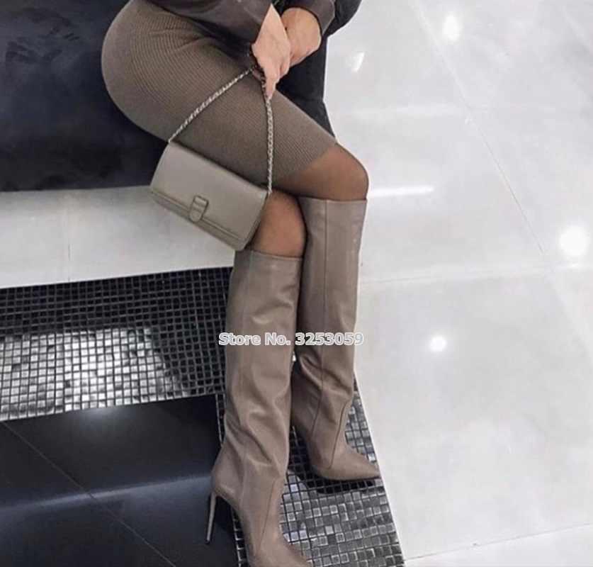 ALMUDENA Vrouwen Koffie Lederen Stiletto Hakken Laarzen Puntschoen Vogue Straat Dress Schoenen Tall Laarzen Gladiator Lange Boot
