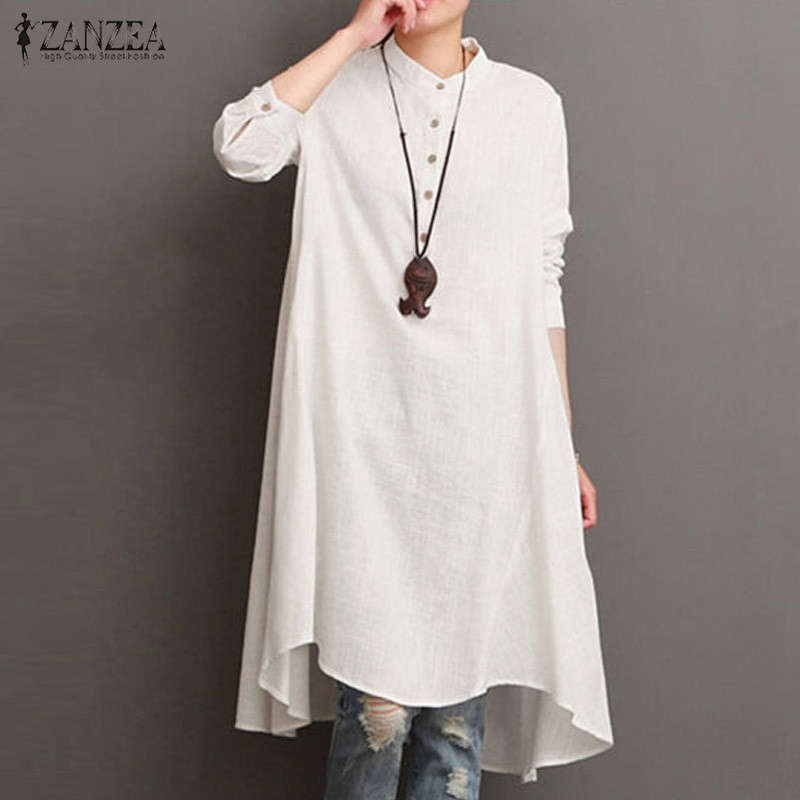 2018 ZANZEA Women font b Vintage b font Long Sleeve Buttons Waterfall Hem Cotton Linen Vestido