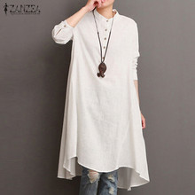 2019 ZANZEA Women Vintage Long Sleeve Buttons Waterfall Hem Cotton Linen Vestido Workwear Shirt Dress Robe M-5XL Oversized