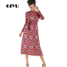 GIYU Spring Women Flower Printing Dress Office Lady Long Sleeve Dresses Sashes Chiffon Vestido Sexy Empire robe femme giyu women shirt dress with sash turn down collar dresses pocket vestido casual office lady empire robe femme