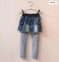 YB19726 2017 Chica de Moda de Primavera Pantalones de Mezclilla Denim Patchwork Apliques Bolsillos Ropa Muchacha de Los Niños Pantalones de Corea