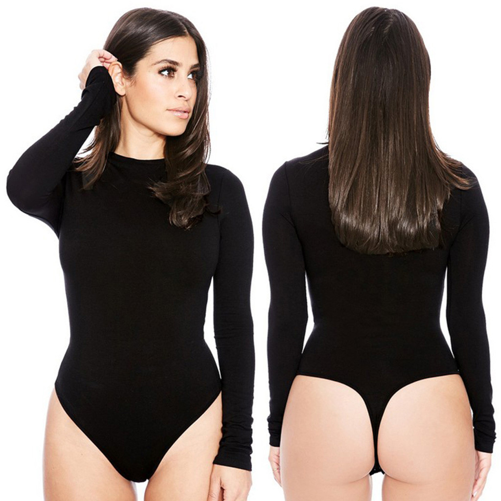 Long Sleeve Bodysuits Sexy Women Shapewwear Summer Open Crotch Office Girl Solid Thong Bodysuit O-neck Swimsuit Overalls Rompers