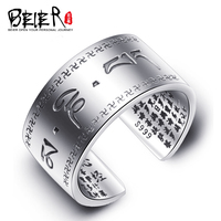 BEIER Hot Sell Good Detail 925 steering silver the Om mani padme hum Chinese Ring Men Jewelry BR-SR006