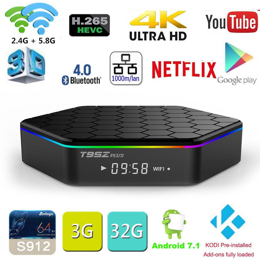 Оригинальный t95z плюс 2 ГБ 16 ГБ 3 ГБ 32 ГБ Amlogic S912 Octa core Android OS 7.1 Умные телевизоры коробка 2.4 г/5 ГГц Wi-Fi BT4.0 4 К PK мини M8s Pro