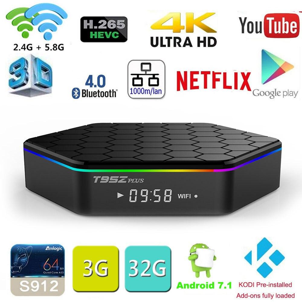 Original T95Z Plus 2 GB 16 GB 3 GB 32 GB Amlogic S912 Octa-core Android 7,1 OS Smart TV BOX 2,4G/5 GHz WiFi BT4.0 4 Karat pk mini m8s pro