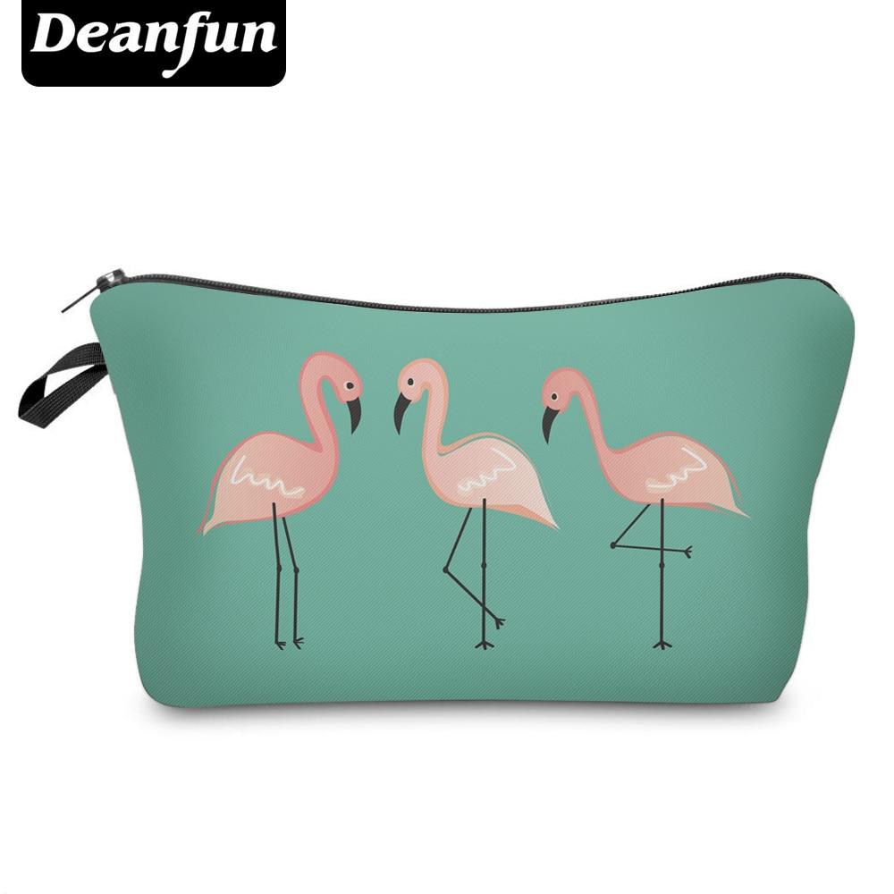 Deanfun Cosmetic Bags 3D Printed Flamingo Green Polyester Makeup Organizer Travel Necessaries   50917 #