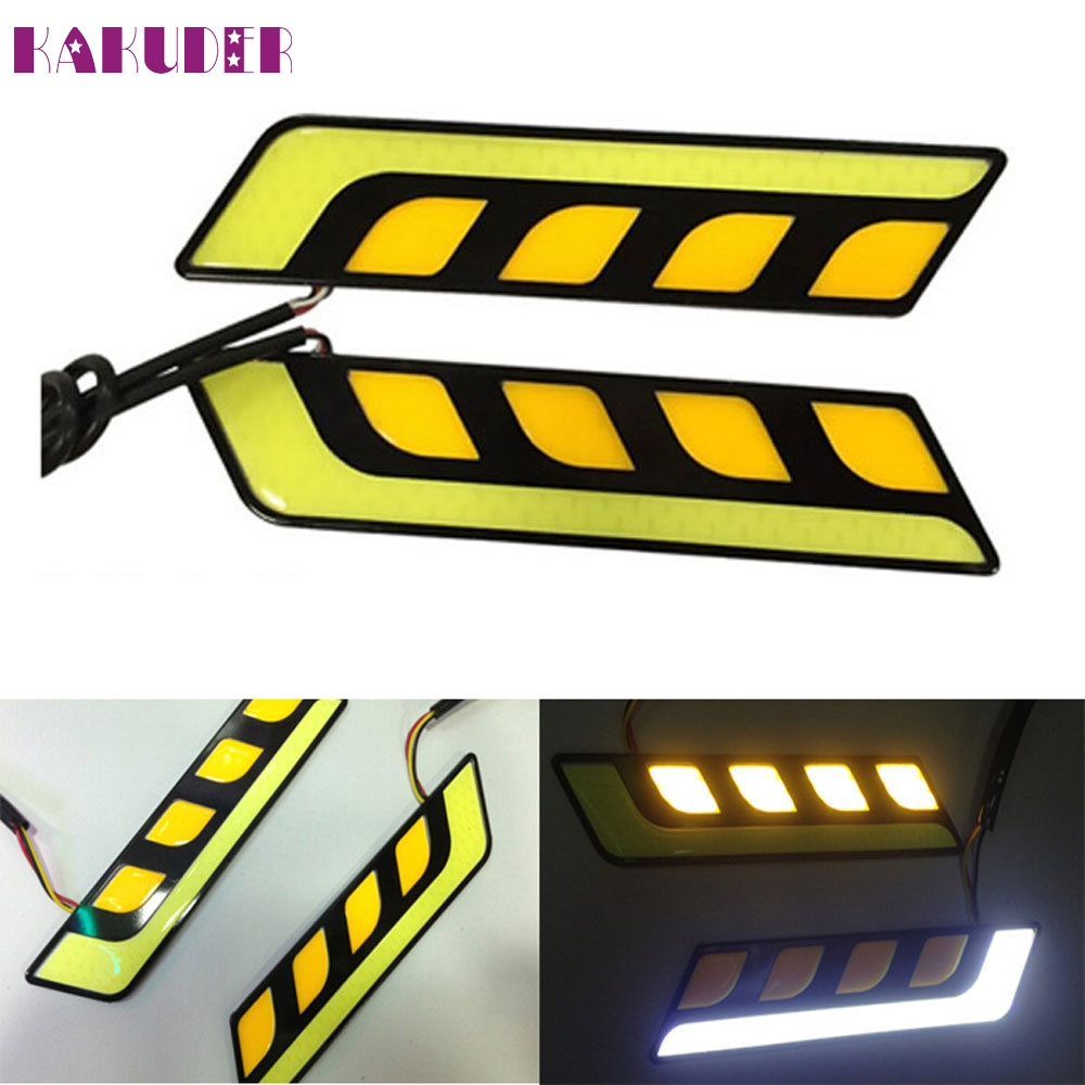NEW 2pcs LED COB Fog Lamp Car Daytime Running DRL Waterproof with Turn Signal L615 автоинструменты new design autocom cdp 2014 2 3in1 led ds150