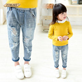 2016 New Style Kids Jeans Boys Girls Trousers Autumn Fashion Designer Children Denim Pants Casual Ripped Jeans For 2~9 Years