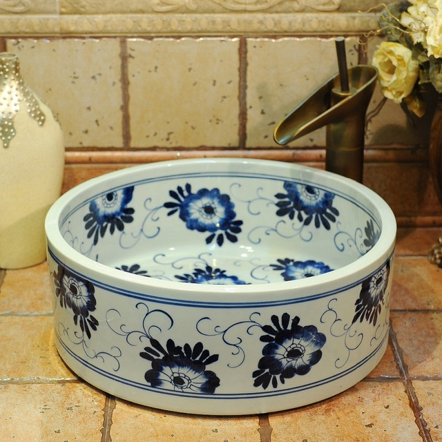 Blue And White China Artistic Handmade Ceramic Wash Basin Lavobo Round  Counter Top Hand Painted Sinks