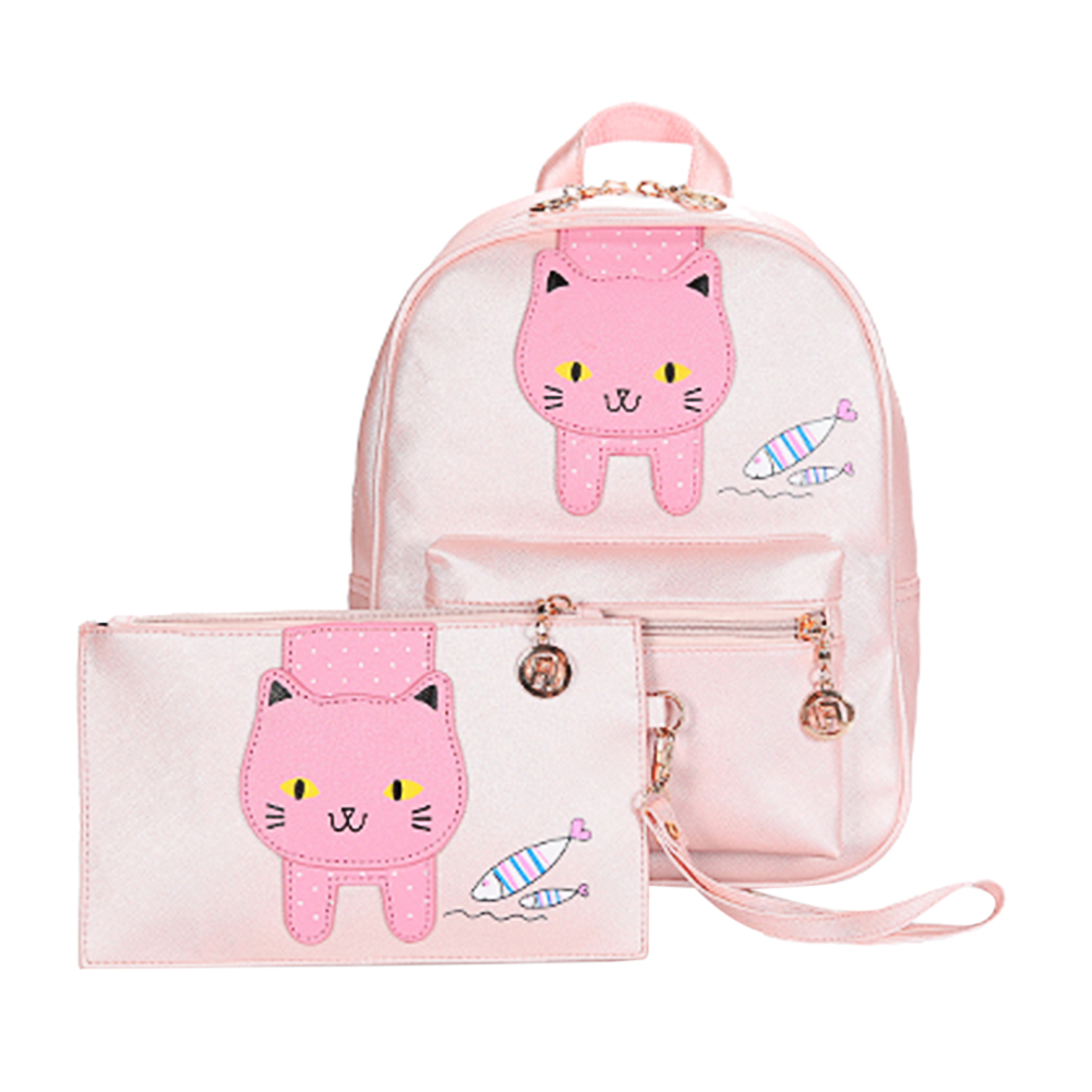 2PCS Fashion Simple Women Cute Cat Eating Fish Backpack Ladies PU Clutch Bag Female Hand Bag Student School Bag for Travel travel tale fashion cat and dog capsule pet cartoon bag hand held portable package backpack
