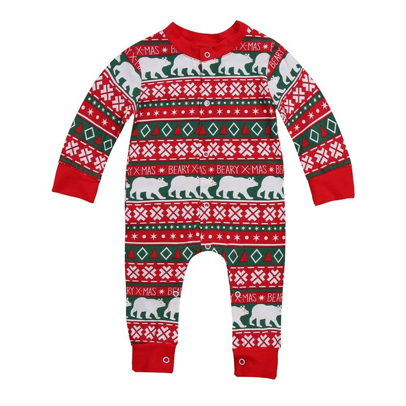 Newborn Infant Baby Christmas Romper Girl Boy Outfit Jumpsuit Long Sleeve Cute Print Cartoon Kid Xmas Clothes Winter Warm New