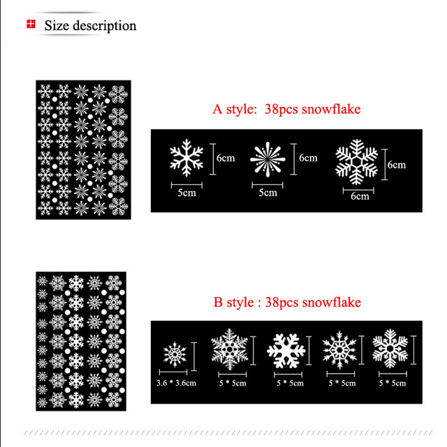 38 Pieces Snowflake Electrostatic Sticker Window Decoration for Kids Room Christmas Wall Stickers Home Decals New Year Wallpaper 2