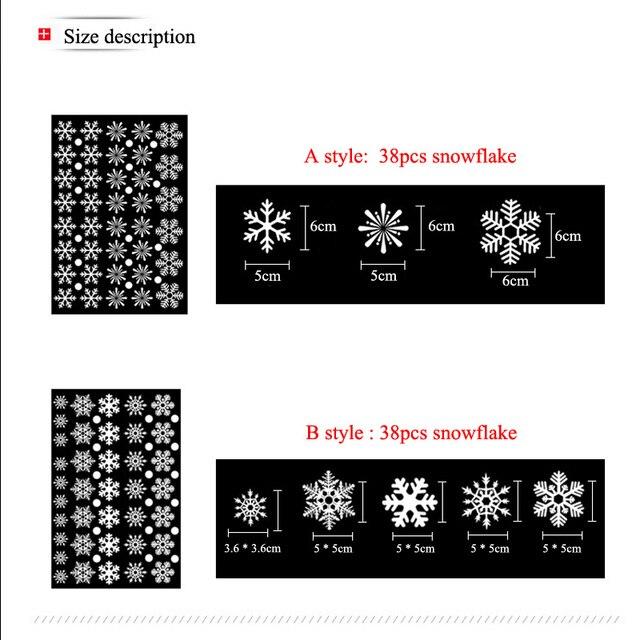 38 unids/lote de pegatinas electrostáticas de copos de nieve para ventana de cristal, decoración de invierno para habitación de niños, adhesivos navideños para pared, calcomanía, papel tapiz
