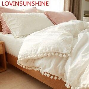 Image 1 - Wihte розовые комплекты постельного белья с потертым шариком, декоративная ткань из микрофибры, Королевский пододеяльник, удобная наволочка