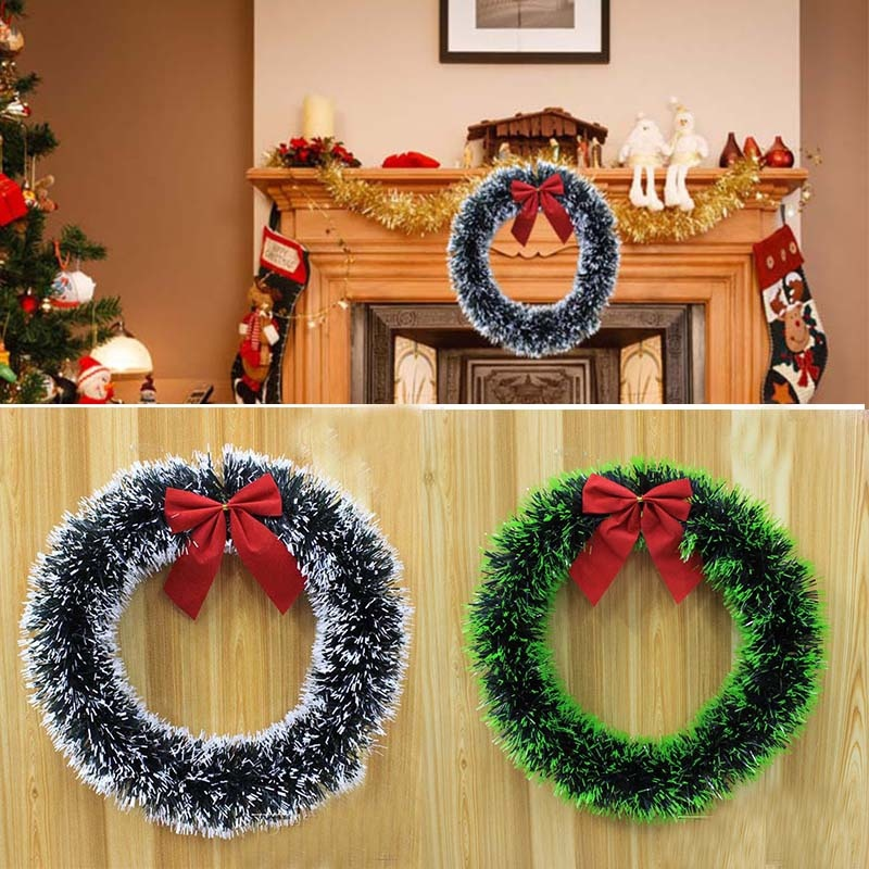 Christmas Garland Madder Bowknot Wreath For Xmas Supermarket Hotel Windows Christmas Tree Decorations Party supplies Home Decor ...