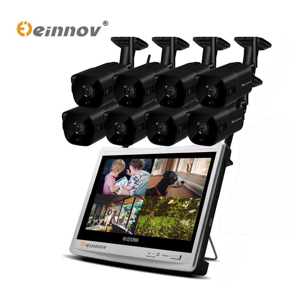 Einnov 8CH 1080 P de Sécurité IP Caméra Système Vidéo Surveillance Kit Sans Fil NVR Avec 12 pouces LCD Moniteur CCTV Ensemble extérieurs pour La Maison