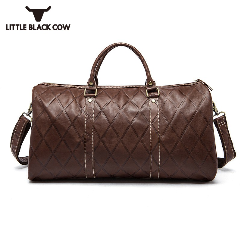 Unisex Hand Travel Bags Luggage Bag Big Capacity Plaid Real Leather Handbags Men Black Coffee Couple Tote Bags Sacoche HommeUnisex Hand Travel Bags Luggage Bag Big Capacity Plaid Real Leather Handbags Men Black Coffee Couple Tote Bags Sacoche Homme
