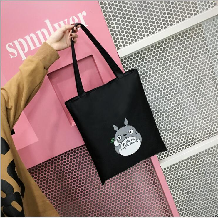 new Cartoon Totoro Printed Shoulder Bag Women Large Capacity Female Shopping Tote Bag Canvas Handbag Beach Lady Hand Bag high quality women linen woven luxury tote large capacity female casual shoulder bag lady daily handbag fresh beach shopping bag