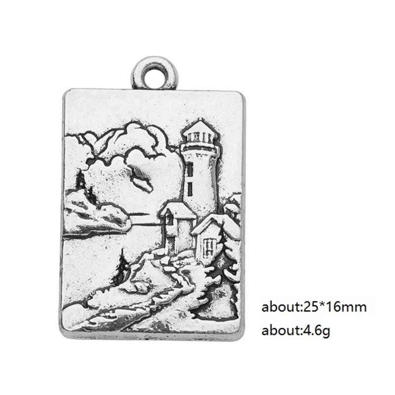 Skyrim 5 шт. Лазерная Гравировка 3D маяк/Лось природный пейзаж квадратные Подвески для самостоятельного изготовления ювелирных изделий Аксессуары Поиск