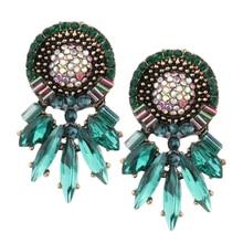 Crystal Round Clip on Earrings Studs Boho Flower Dangle Earring for Women Girls Dangler Drop Pendientes Turquesa Jewelry