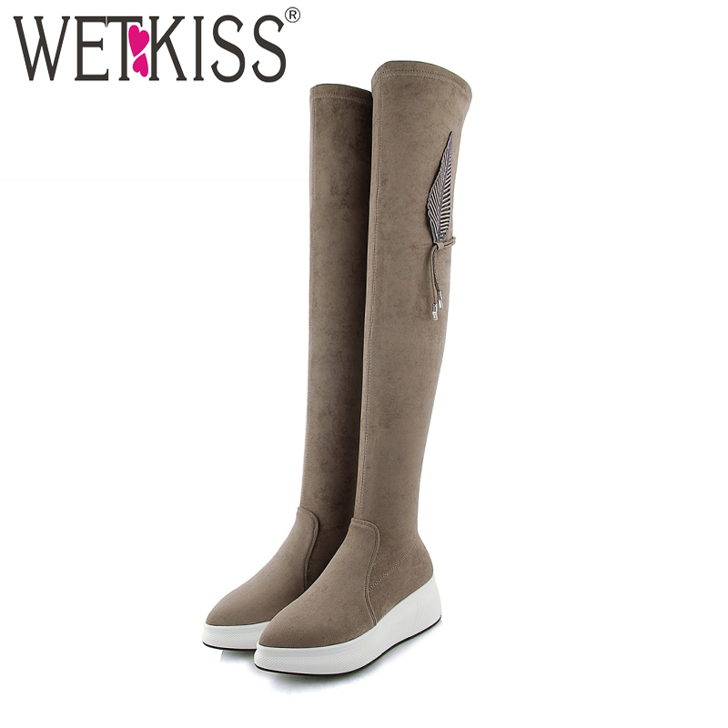 WETKISS Elastic Women Boots Round Toe Flat With Footwear Kid Suede Stretch Female Boot Over The Knee Platfofm Shoes Woman Winter women shoes scarpe donna elastic boots botines mujer sapato feminino round toe chaussure femme schoenen vrouw over knee boots