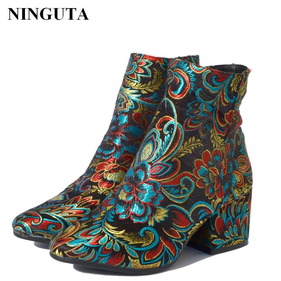 NINGUTA embroider ankle boots women heels for spring autumn fashion shoes woman 3 styles