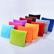 Meijuner New Plush Pillowcase Solid Candy Color Soft Furry Cushion Cover Square Waist Throw  Pillow Gifts Faux Fur MJ002