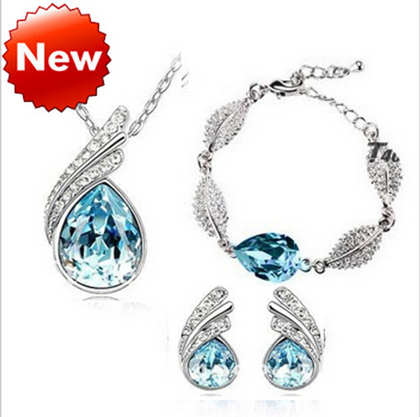 2014 wholesales austrian crystal KC wedding bridal fashion leaf jewelry sets Pendants & Necklace Earrings Bracelet
