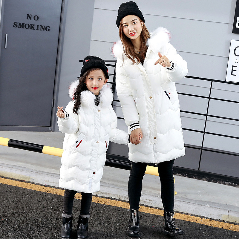 Winter Family Matching Outfits White Red Down Jacket for Girls Mommy and Me Clothes Parkas