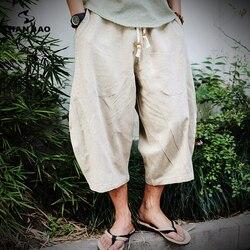 2018 sommer Neue Chinesischen Stil Leinen Lose Dünne Abschnitt Harem Hosen Männer Elastische Taille Strap Mode Stil Hosen Große Größe