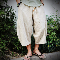 2018 Summer New Chinese Style Linen Loose Thin Section Harem Pants Men S Elastic Waist Strap